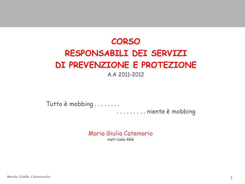 RESPONSABILI DEI SERVIZI DI PREVENZIONE E PROTEZIONE