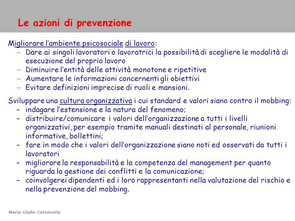 Le azioni di prevenzione