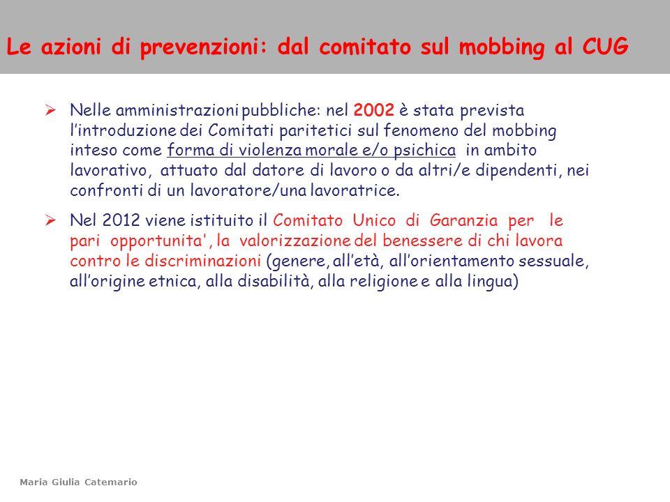 Le azioni di prevenzioni: dal comitato sul mobbing al CUG