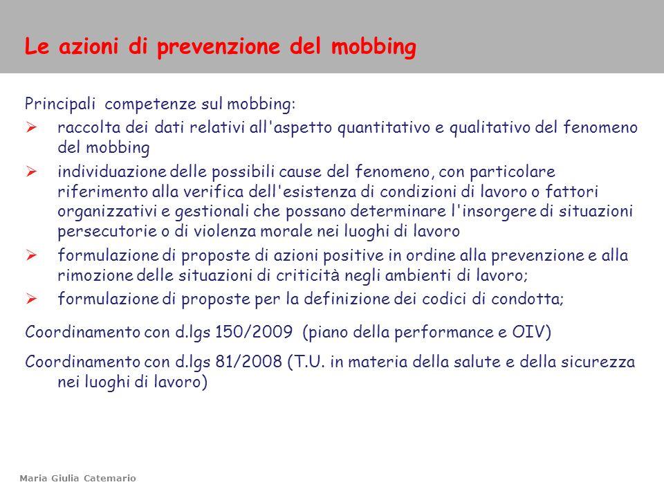 Le azioni di prevenzione del mobbing