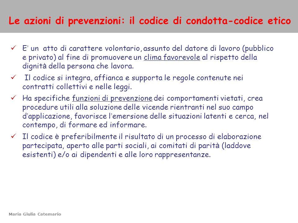 Le azioni di prevenzioni: il codice di condotta-codice etico
