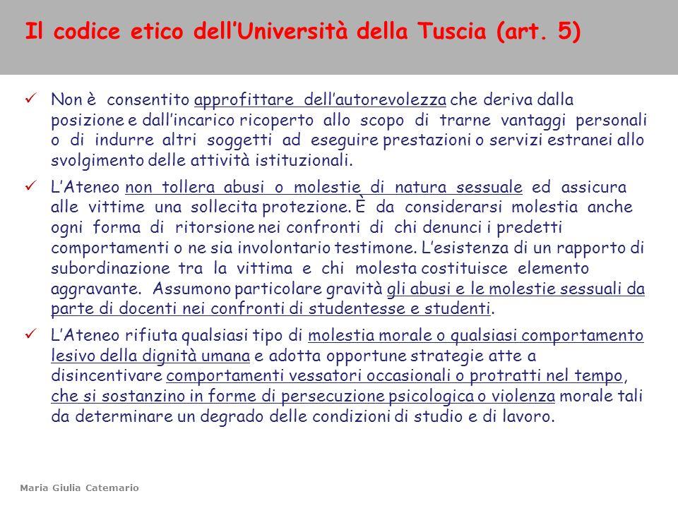 Il codice etico dell'Università della Tuscia (art. 5)