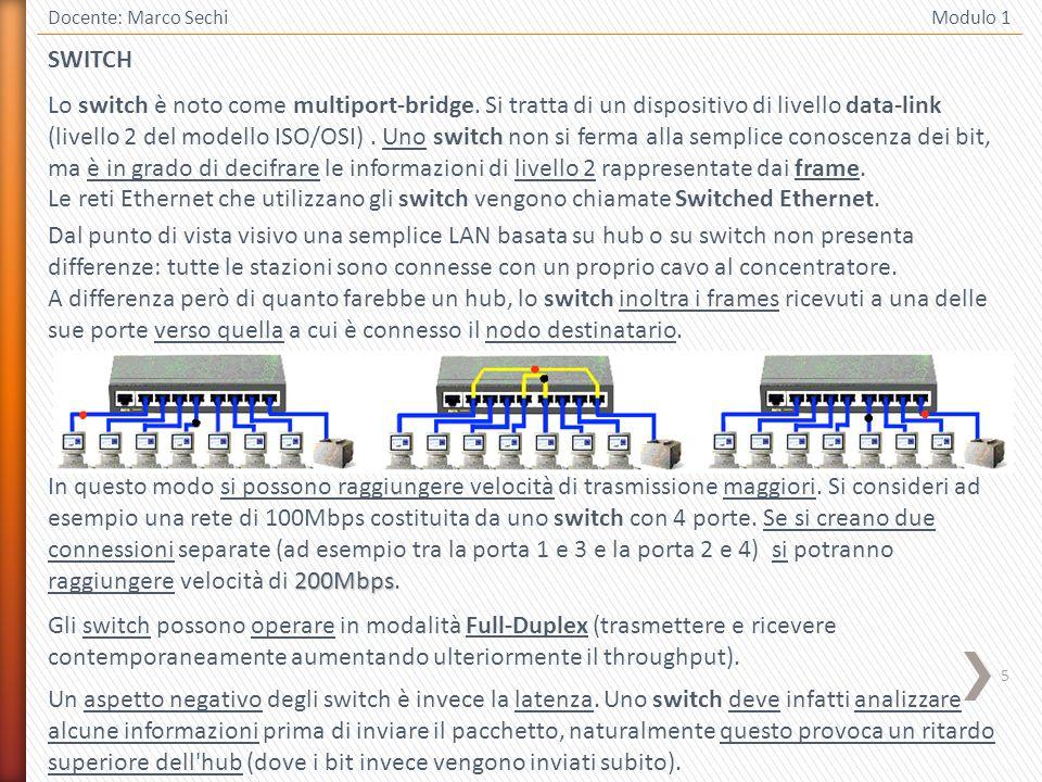 Docente: Marco Sechi Modulo 1