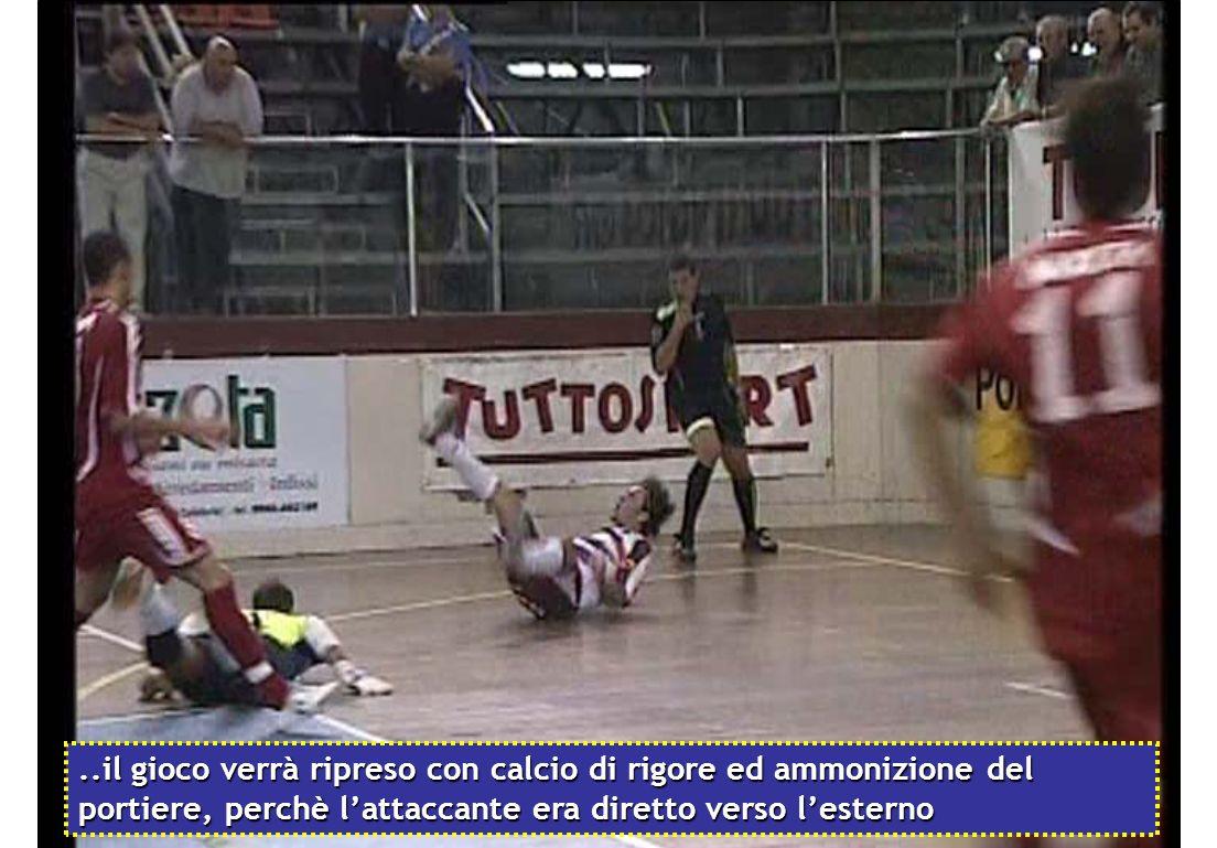 ..il gioco verrà ripreso con calcio di rigore ed ammonizione del portiere, perchè l'attaccante era diretto verso l'esterno