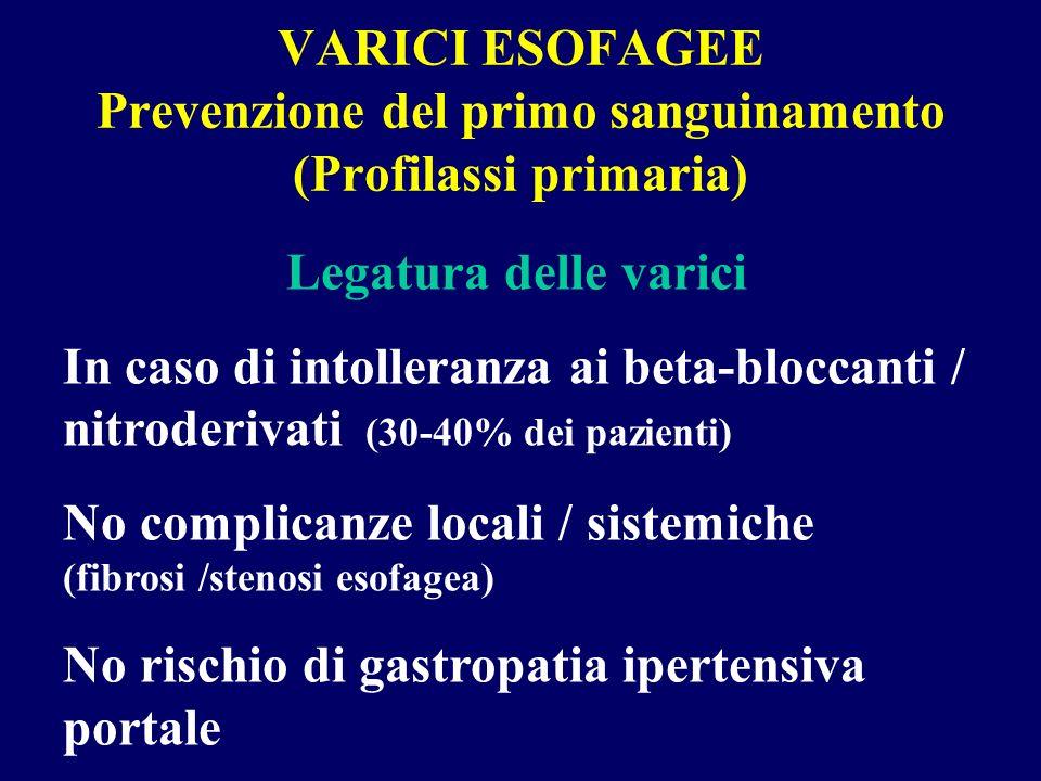 VARICI ESOFAGEE Prevenzione del primo sanguinamento (Profilassi primaria)