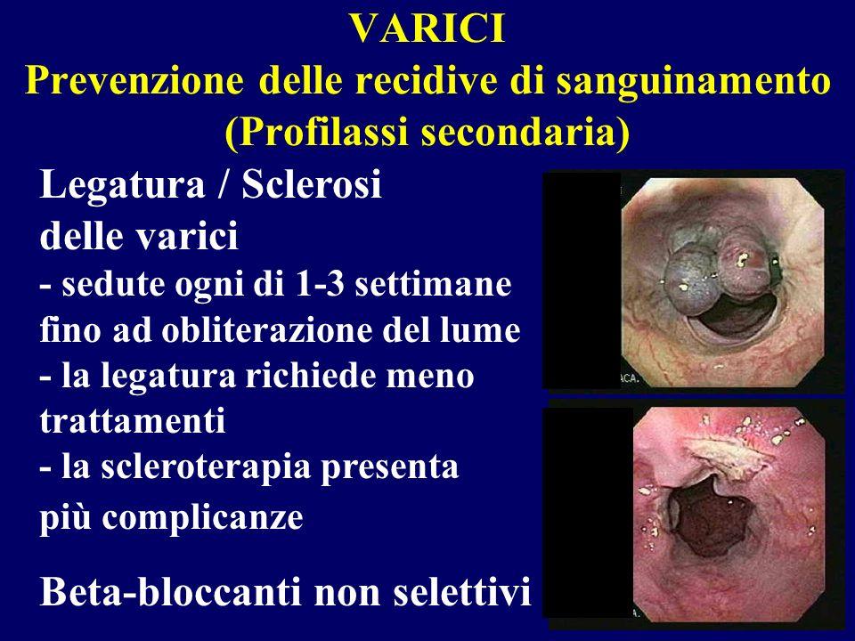 VARICI Prevenzione delle recidive di sanguinamento (Profilassi secondaria)