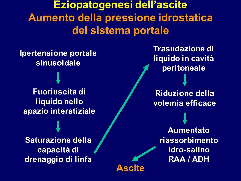 Eziopatogenesi dell'ascite Aumento della pressione idrostatica del sistema portale