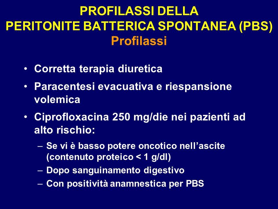 PROFILASSI DELLA PERITONITE BATTERICA SPONTANEA (PBS) Profilassi