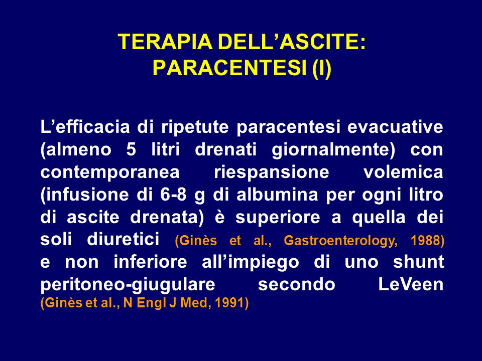 TERAPIA DELL'ASCITE: PARACENTESI (I)