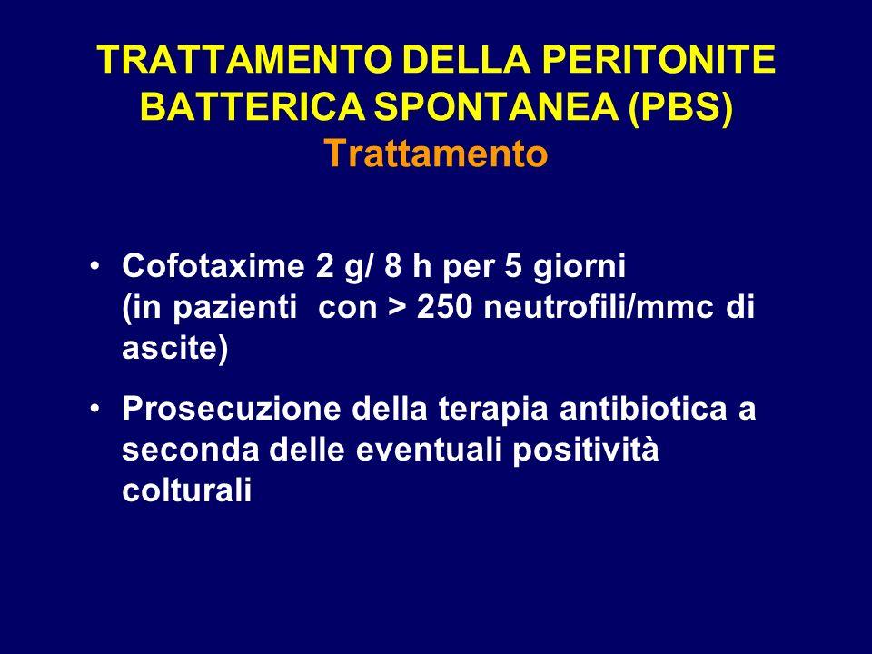 TRATTAMENTO DELLA PERITONITE BATTERICA SPONTANEA (PBS) Trattamento