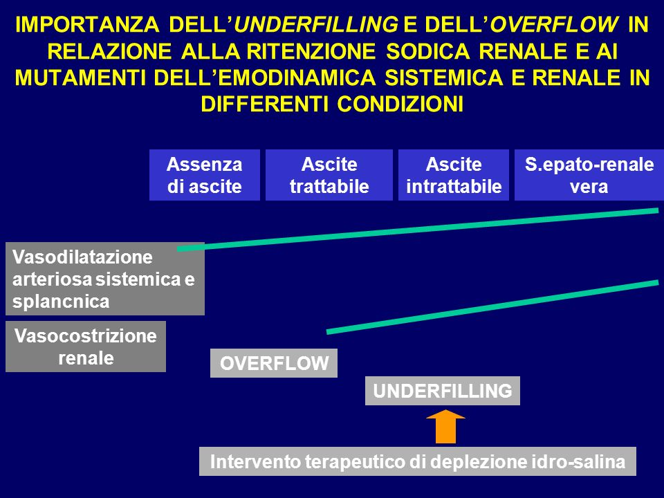 IMPORTANZA DELL'UNDERFILLING E DELL'OVERFLOW IN RELAZIONE ALLA RITENZIONE SODICA RENALE E AI MUTAMENTI DELL'EMODINAMICA SISTEMICA E RENALE IN DIFFERENTI CONDIZIONI