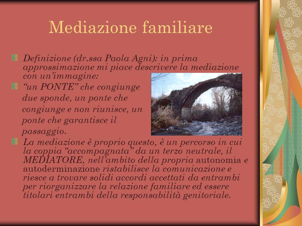 Mediazione familiare Definizione (dr.ssa Paola Agni): in prima approssimazione mi piace descrivere la mediazione con un'immagine: