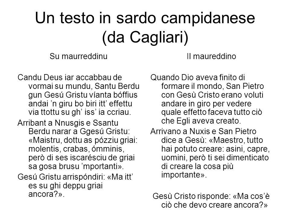 Un testo in sardo campidanese (da Cagliari)