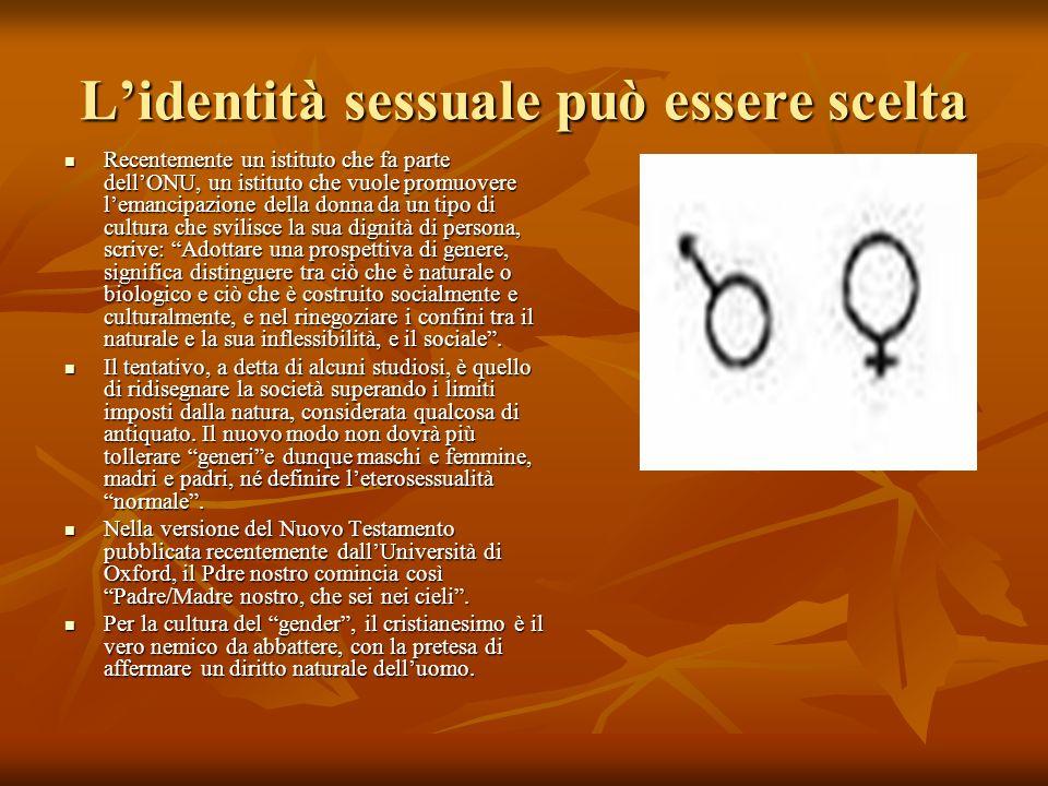 L'identità sessuale può essere scelta