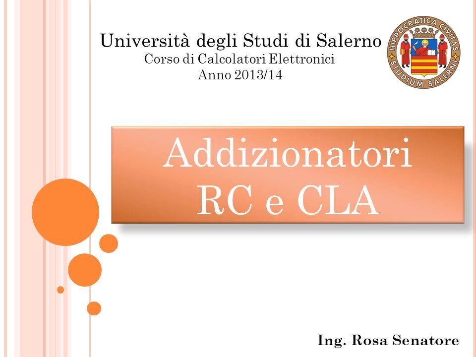 Addizionatori RC e CLA Università degli Studi di Salerno