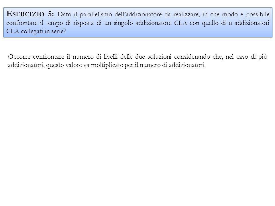 Esercizio 5: Dato il parallelismo dell'addizionatore da realizzare, in che modo è possibile confrontare il tempo di risposta di un singolo addizionatore CLA con quello di n addizionatori CLA collegati in serie