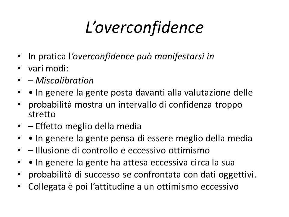 L'overconfidence In pratica l'overconfidence può manifestarsi in