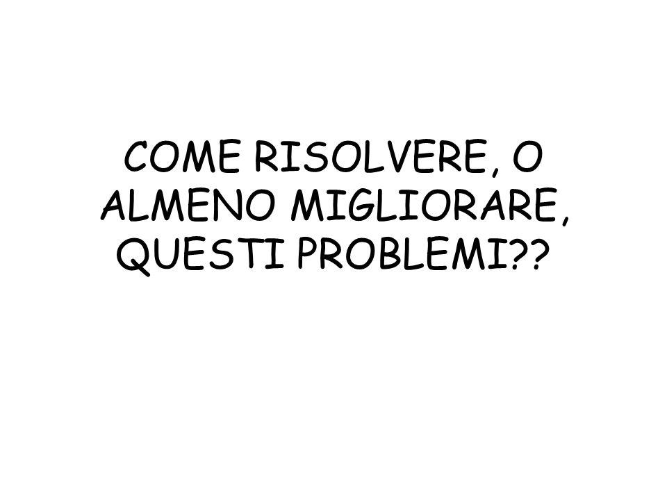 COME RISOLVERE, O ALMENO MIGLIORARE, QUESTI PROBLEMI