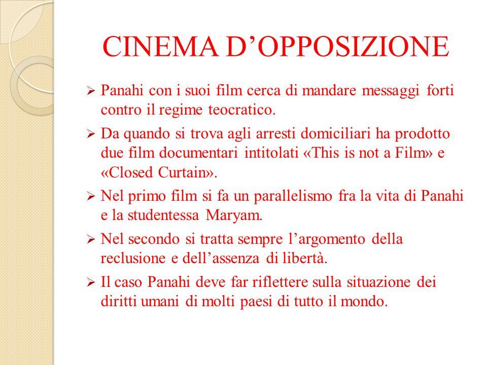 CINEMA D'OPPOSIZIONE Panahi con i suoi film cerca di mandare messaggi forti contro il regime teocratico.