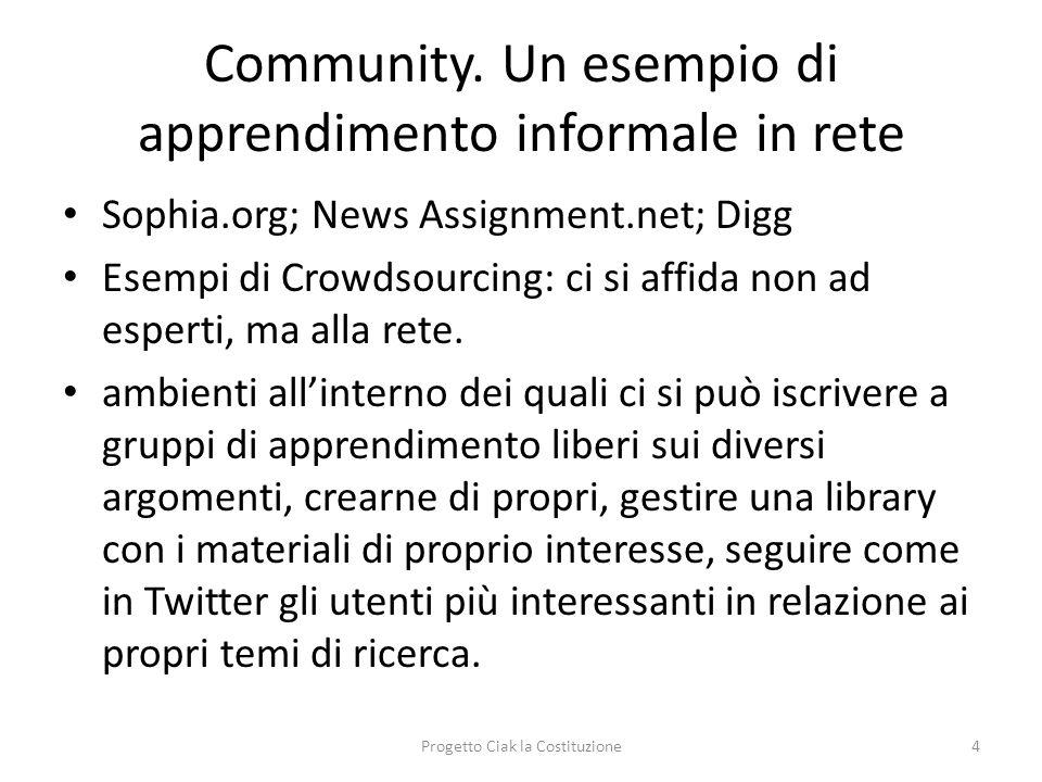 Community. Un esempio di apprendimento informale in rete