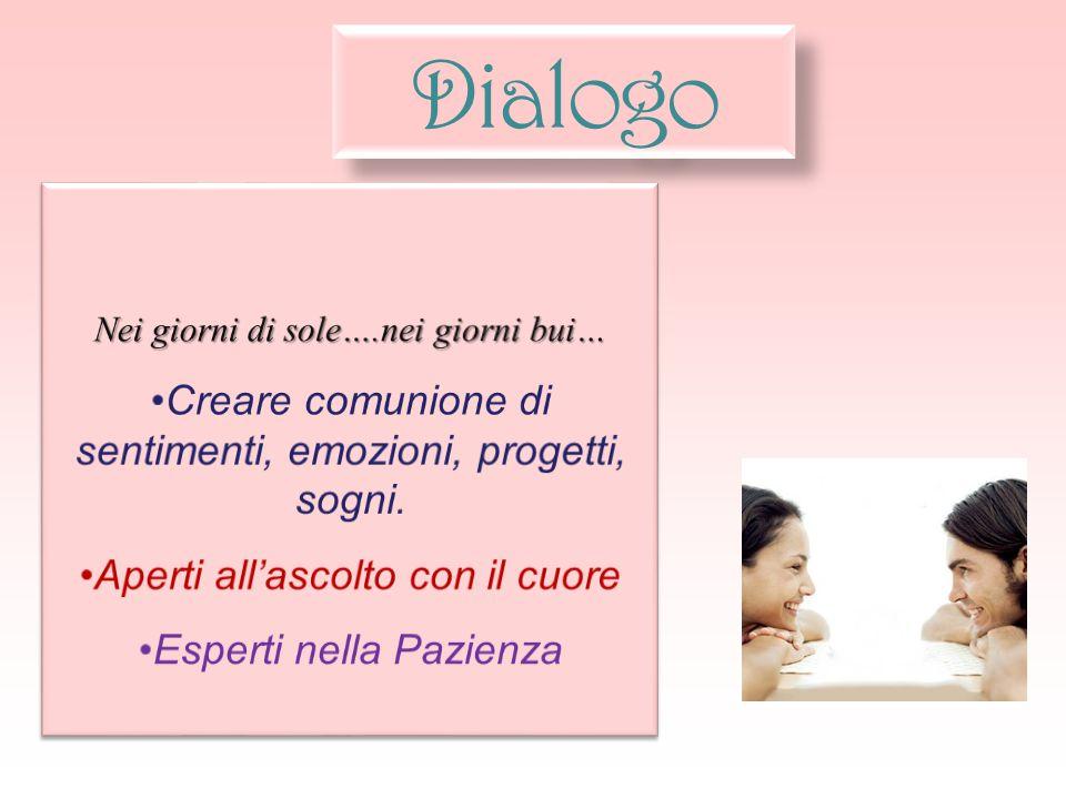 Dialogo Creare comunione di sentimenti, emozioni, progetti, sogni.