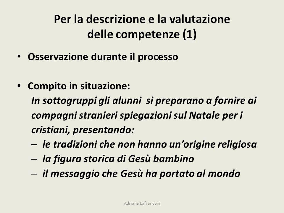 Per la descrizione e la valutazione delle competenze (1)