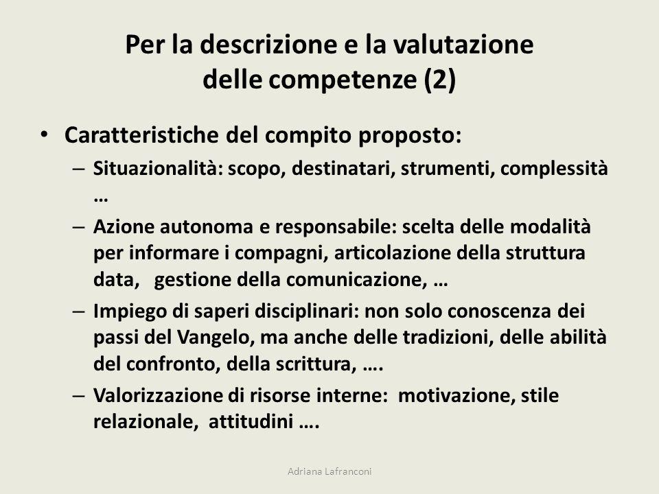 Per la descrizione e la valutazione delle competenze (2)