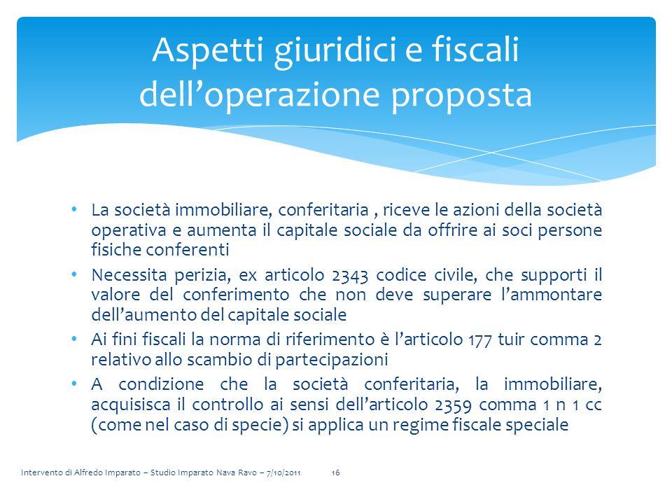 Aspetti giuridici e fiscali dell'operazione proposta