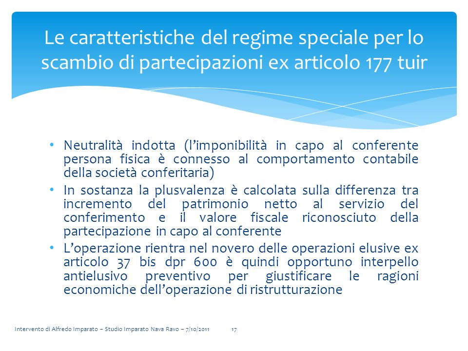 Le caratteristiche del regime speciale per lo scambio di partecipazioni ex articolo 177 tuir