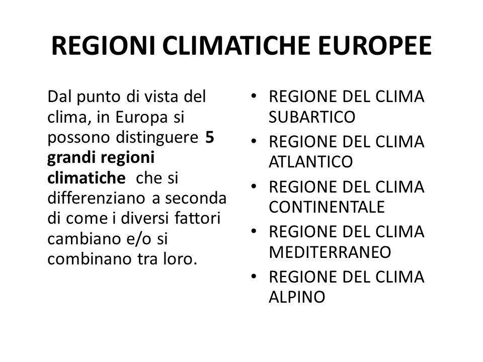 REGIONI CLIMATICHE EUROPEE