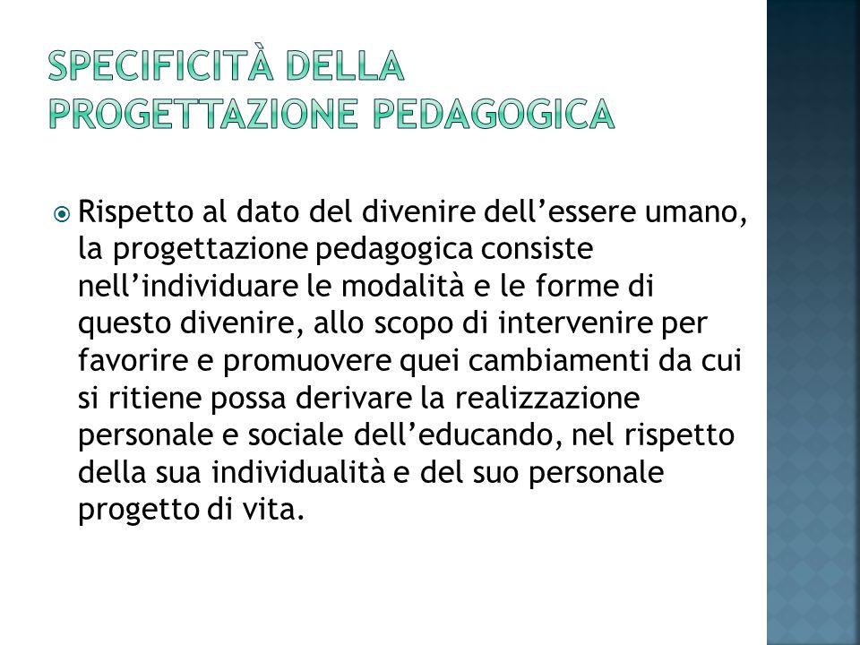 Specificità della progettazione pedagogica