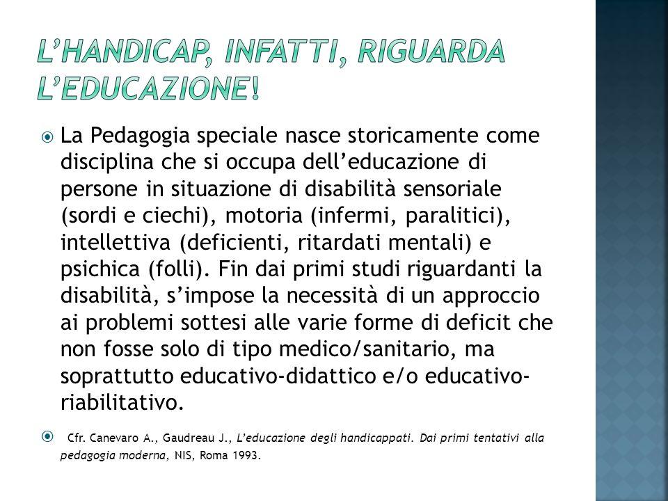 L'handicap, infatti, riguarda l'educazione!