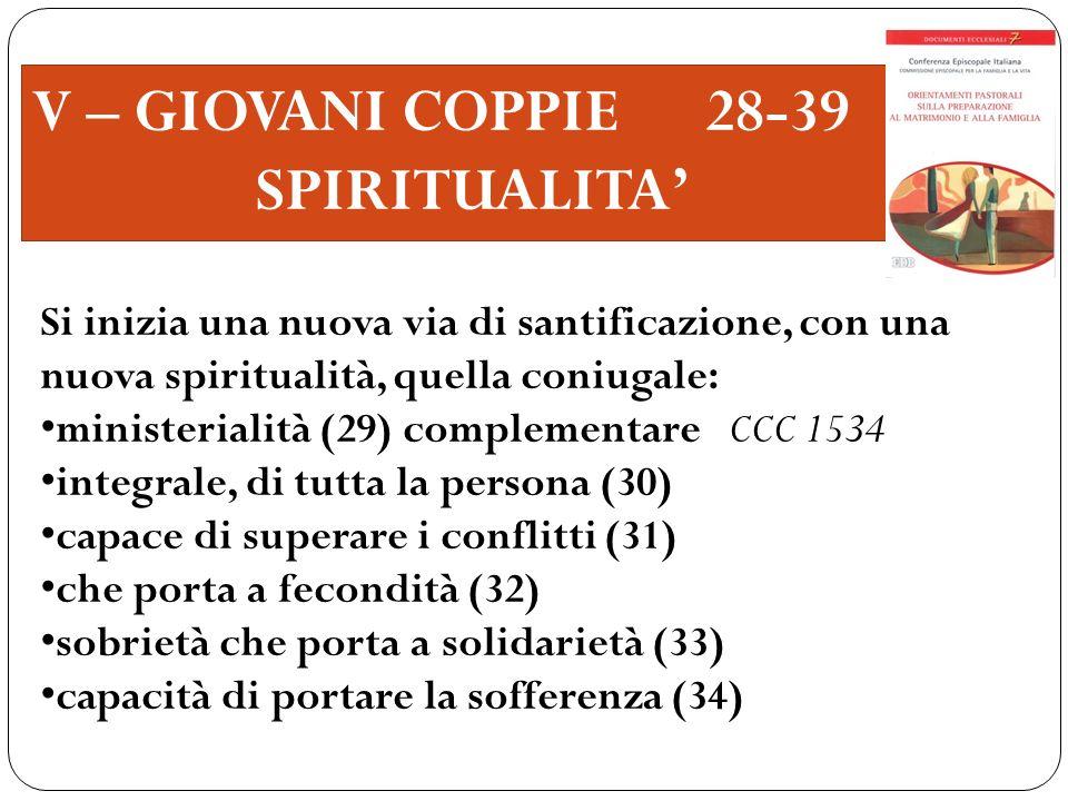 V – GIOVANI COPPIE 28-39 SPIRITUALITA'