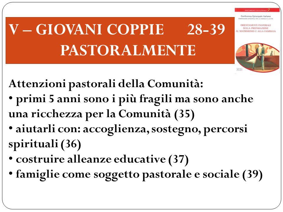 V – GIOVANI COPPIE 28-39 PASTORALMENTE