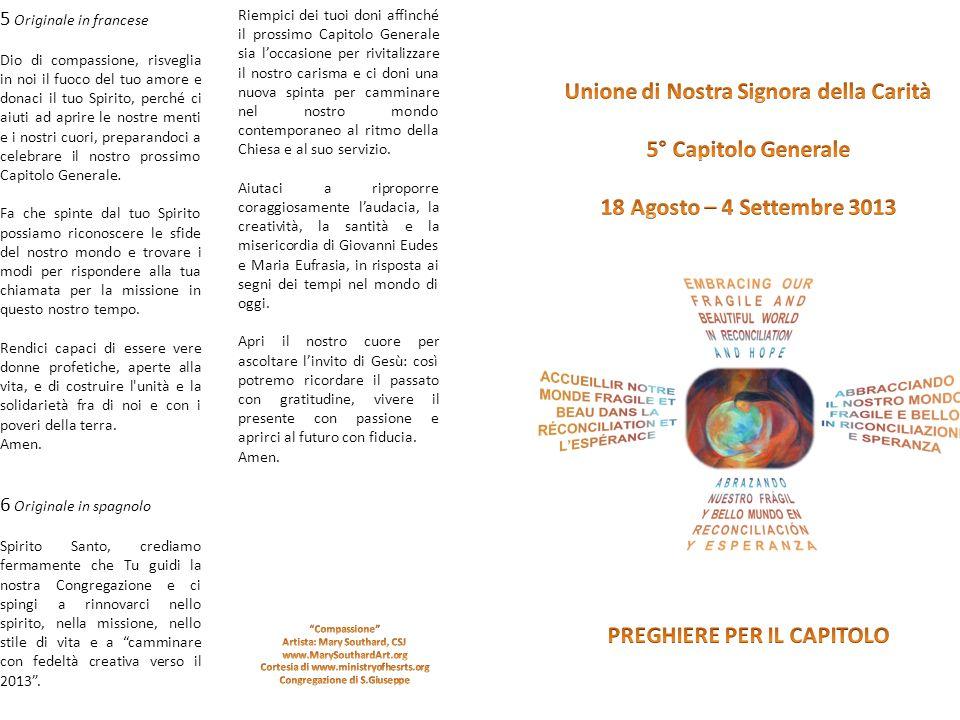 Unione di Nostra Signora della Carità 5° Capitolo Generale