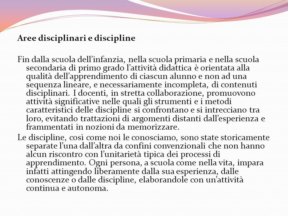 Aree disciplinari e discipline