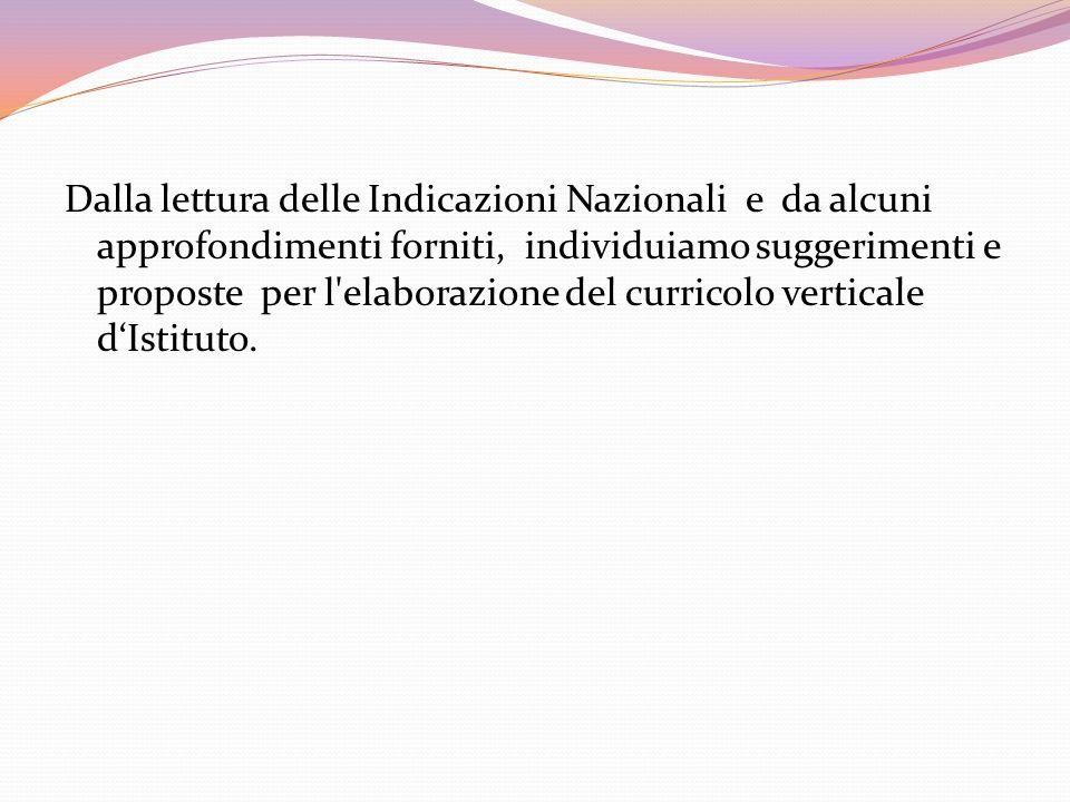 Dalla lettura delle Indicazioni Nazionali e da alcuni approfondimenti forniti, individuiamo suggerimenti e proposte per l elaborazione del curricolo verticale d'Istituto.