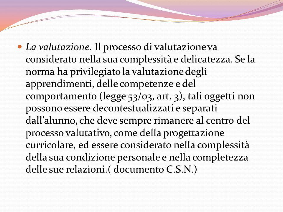 La valutazione. Il processo di valutazione va considerato nella sua complessità e delicatezza.