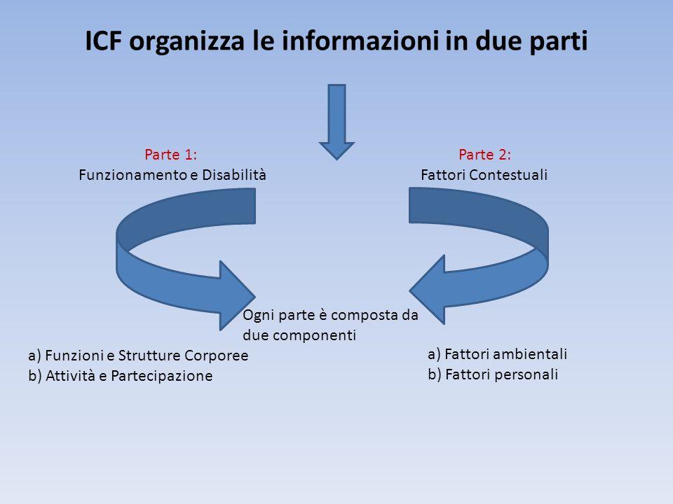 ICF organizza le informazioni in due parti