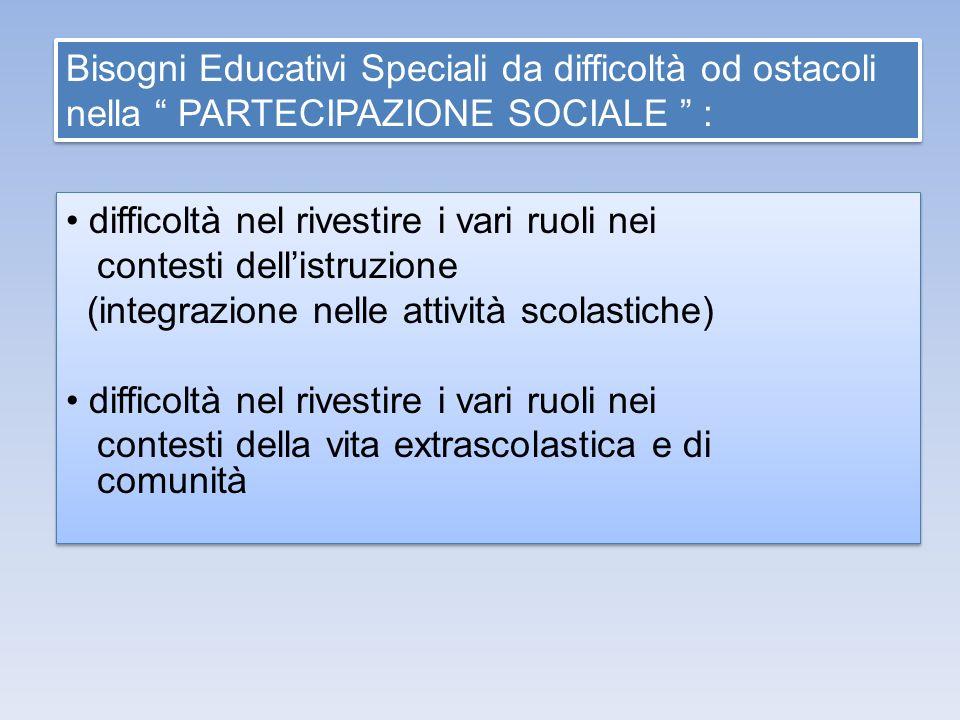 Bisogni Educativi Speciali da difficoltà od ostacoli nella PARTECIPAZIONE SOCIALE :