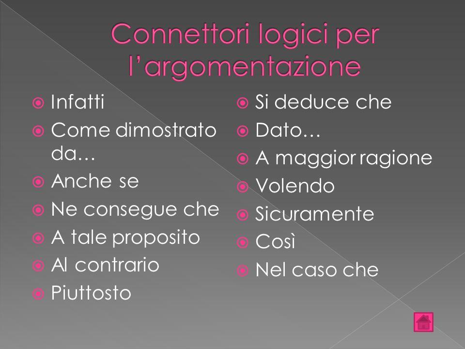 Connettori logici per l'argomentazione