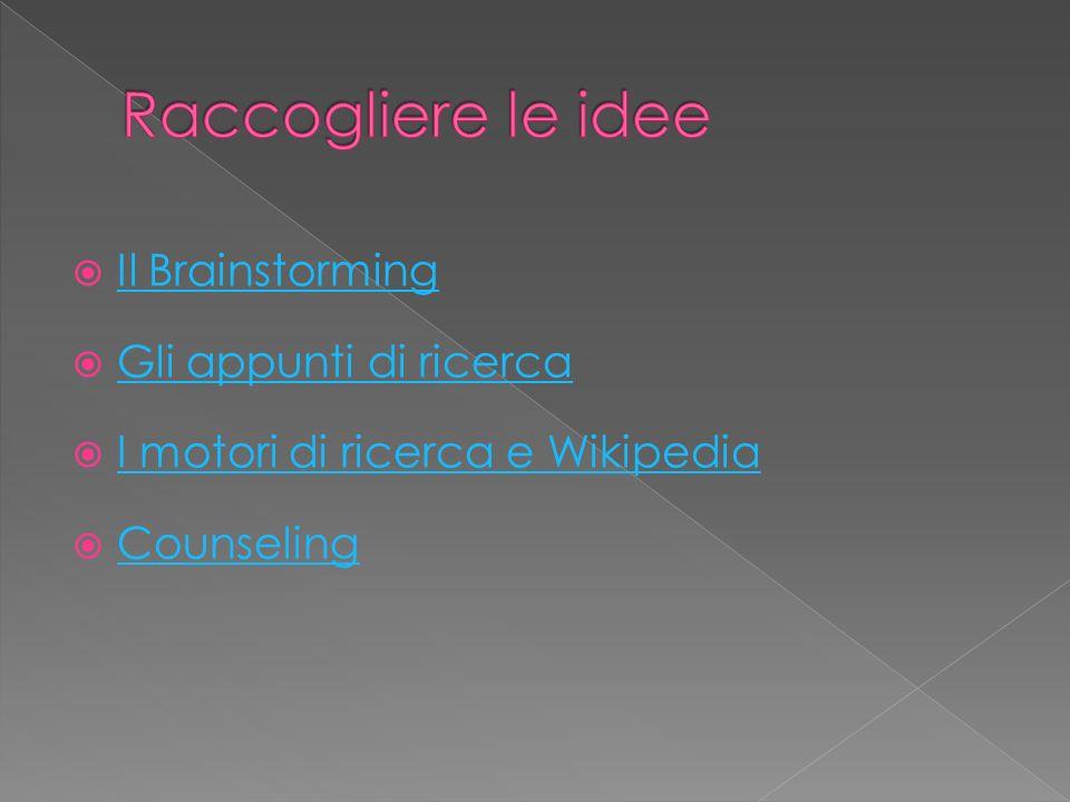 Raccogliere le idee Il Brainstorming Gli appunti di ricerca