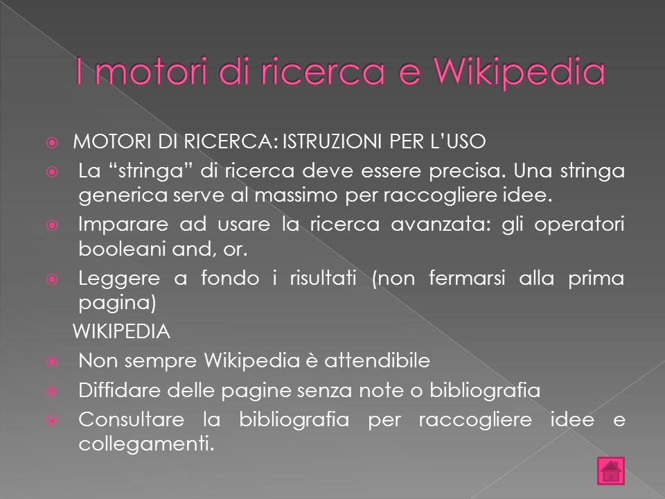 I motori di ricerca e Wikipedia
