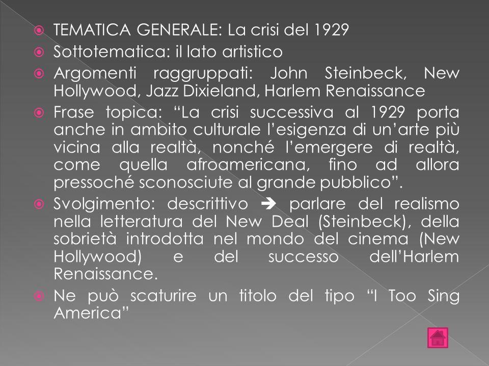 TEMATICA GENERALE: La crisi del 1929