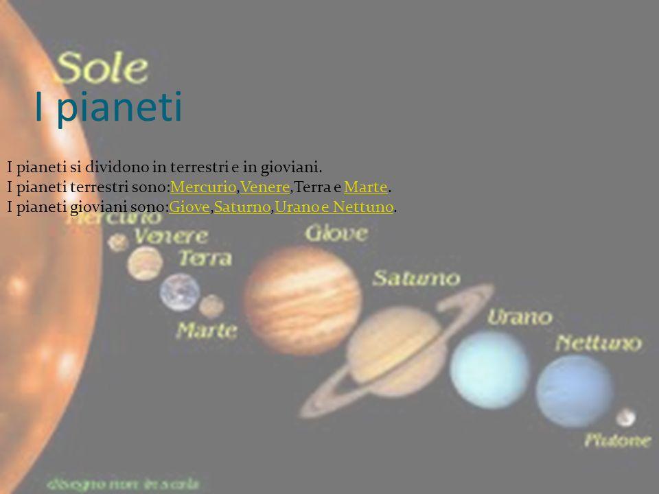 I pianeti I pianeti si dividono in terrestri e in gioviani.