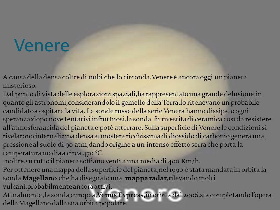 Venere A causa della densa coltre di nubi che lo circonda,Venere è ancora oggi un pianeta misterioso.