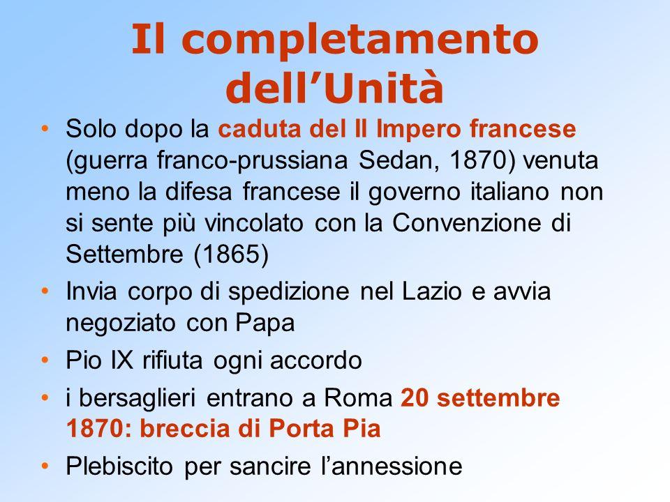 Il completamento dell'Unità