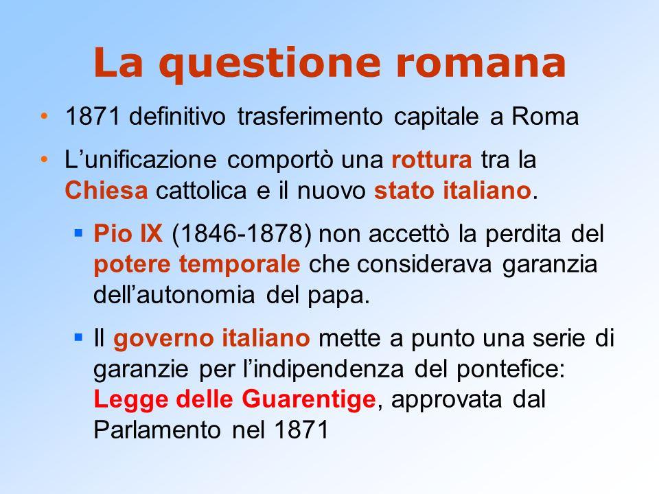 La questione romana 1871 definitivo trasferimento capitale a Roma