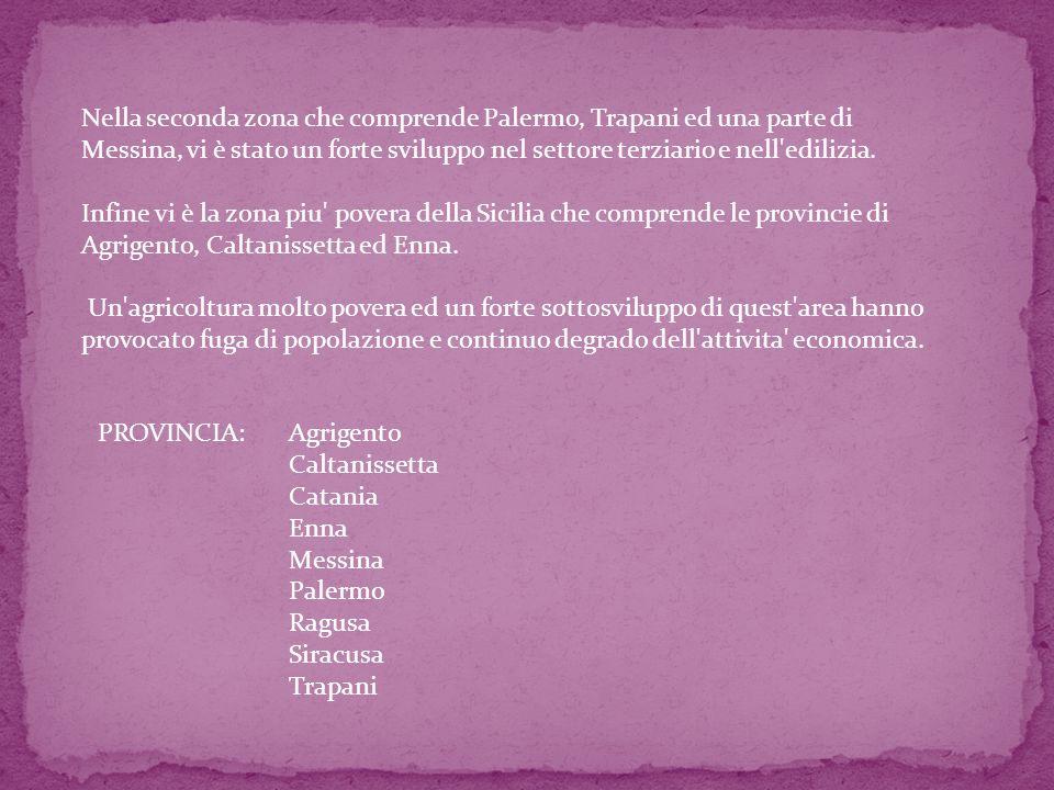 Nella seconda zona che comprende Palermo, Trapani ed una parte di Messina, vi è stato un forte sviluppo nel settore terziario e nell edilizia.