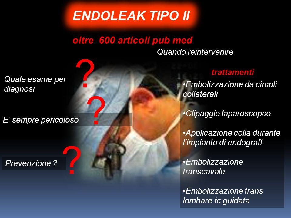 ENDOLEAK TIPO II oltre 600 articoli pub med Quando reintervenire